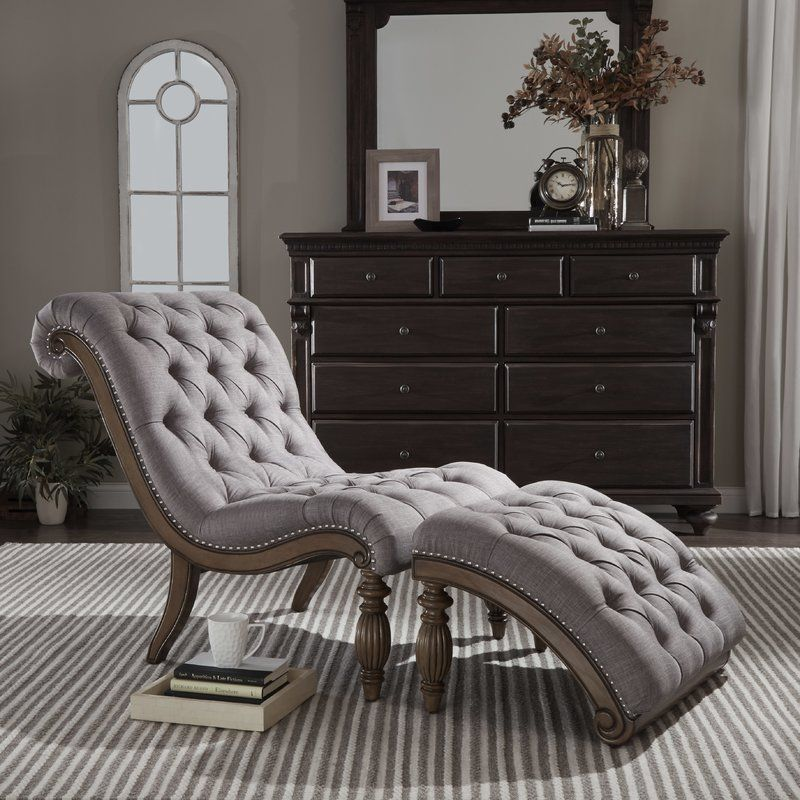 Indoor Chaise Lounge Sofa Chair Tufted And Ottoman Set