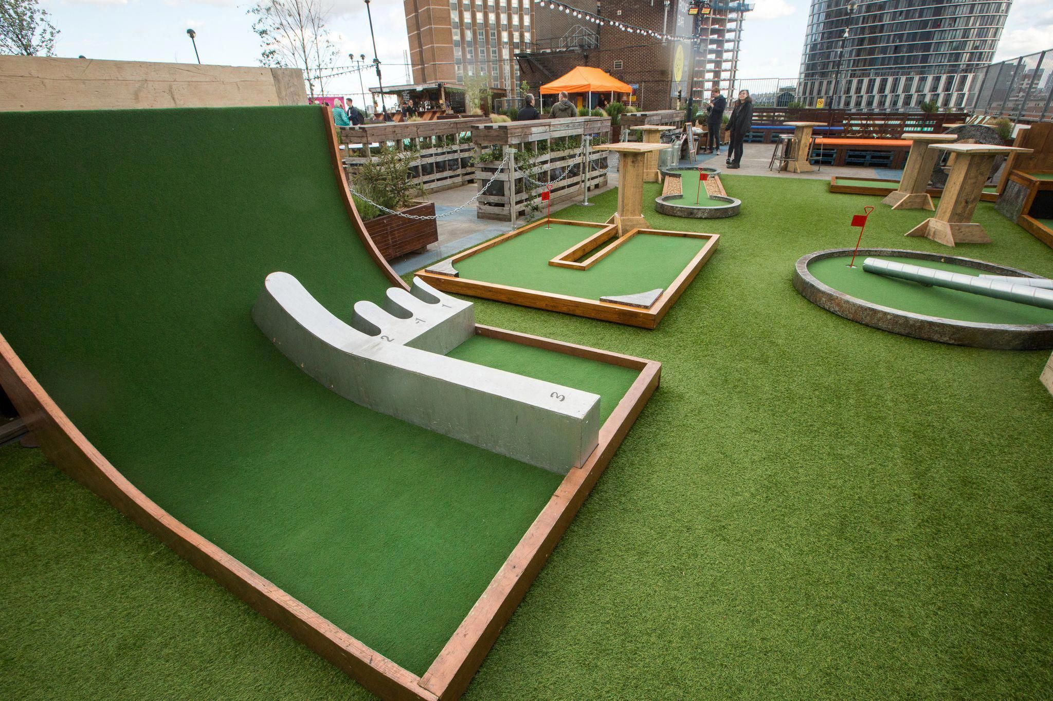 Bespoke 9 Hole Crazy Golf Course Designed And Built By The Halo Group For Rooftop Film Club Creative Adventure Golf Miniature Golf Course Crazy Golf