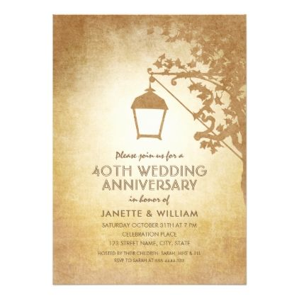 Vintage lamp 40th wedding anniversary rustic fall card 40th vintage lamp 40th wedding anniversary rustic fall card stopboris Image collections