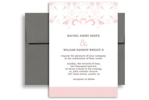Creative Graphic Pink White Wedding Announcement Samples 5x7 in - sample 5x7 envelope template