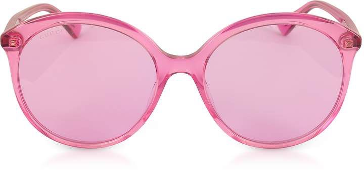 d05a55f653f Gucci GG0257S Specialized Fit Round-frame Transparent Fuchsia Acetate  Sunglasses