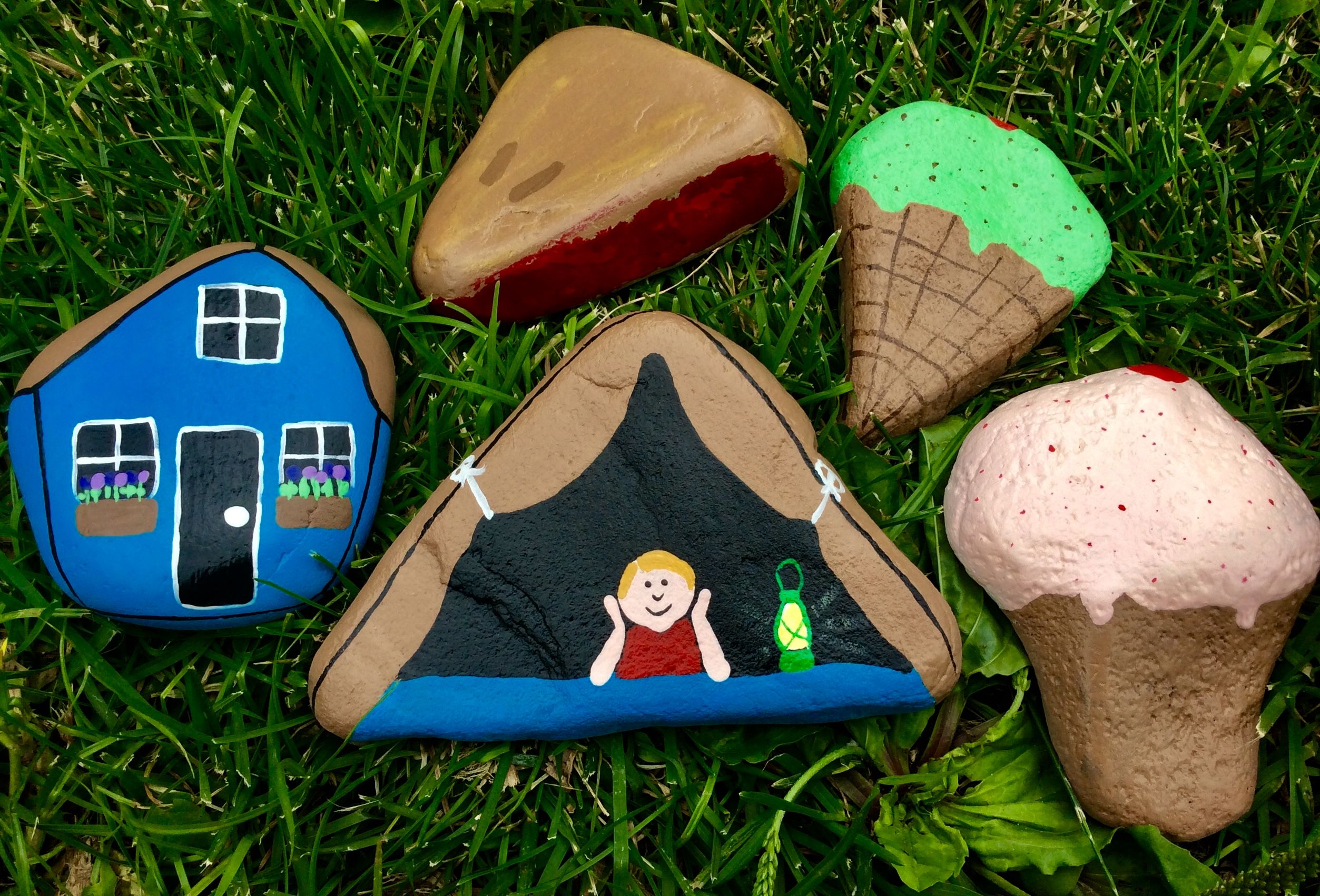 Tiny House Ice Cream Cone Tent Camping Cherry Pie Painted