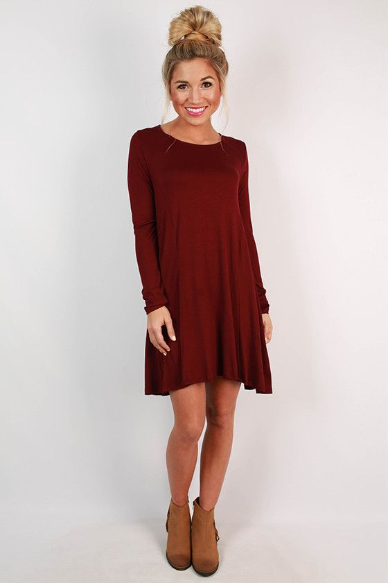 chic to meet you shift dress in maroon   met and statement necklaces