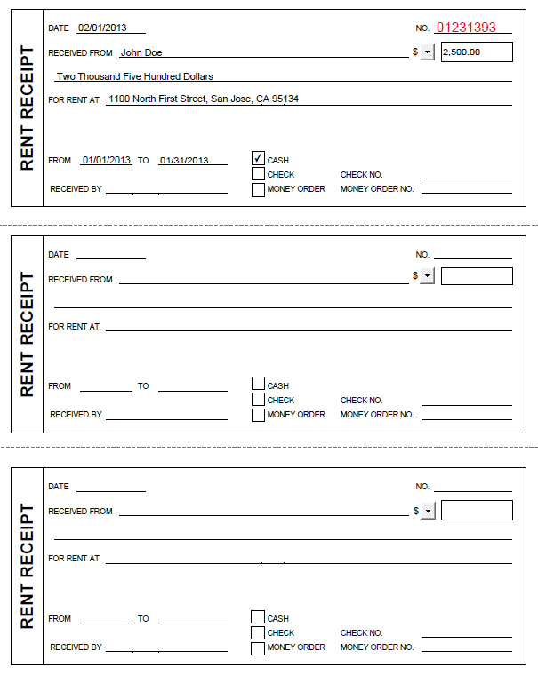 Free Check Receipts Template