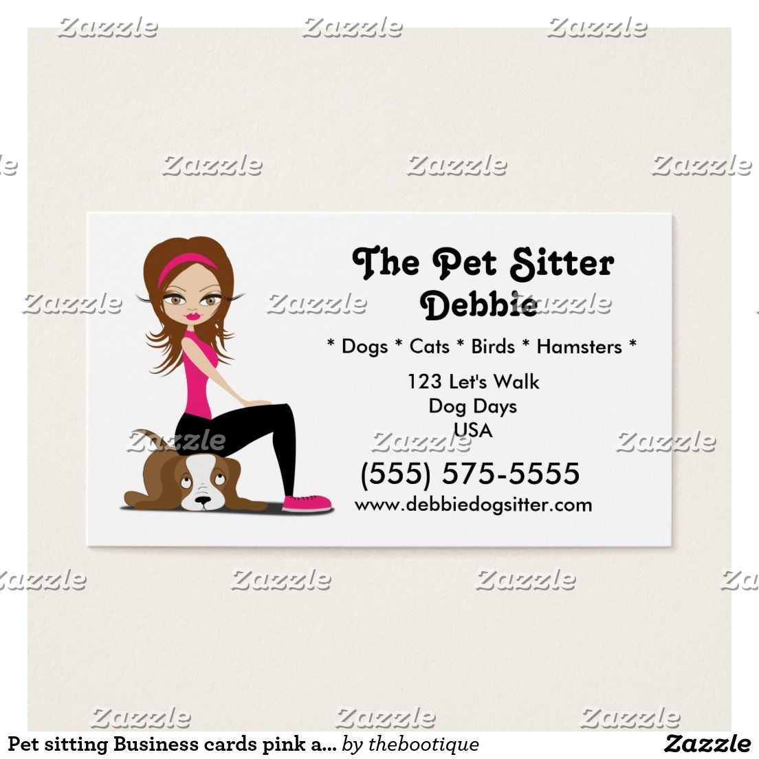 Pet sitting Business cards pink and brown | Pet sitting business ...