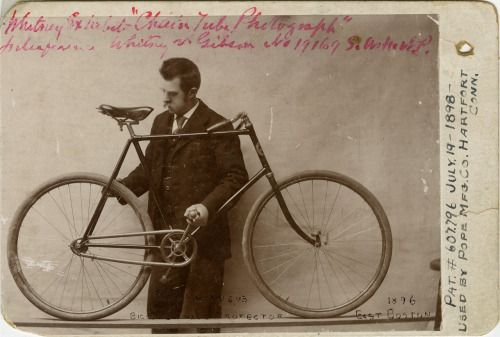 "ca. 1896, ""Whitney's Bicycle Chain Protector"", [cabinet card, portrait of a gentleman with displaying his patent model. On verso, a U.S. Patent Office stamp dated June 24, 1898] via Jeffrey Kraus, Antique Photographics"