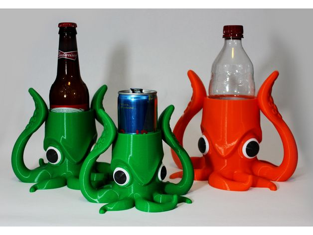 """Conquer the high seas with this fun Squid Koozie.  The uploaded model is scaled for a standard glass beer bottle with a diameter of 2.24"""".  Please use the chart below to scale the model for use with other common sized drink containers. I remixed this model as a Squid Bank, and can be found here ... http://www.thingiverse.com/thing:2208911 Glass Beer Bottle ... 2.42"""" ... 100% 8.4oz RedBull Can ... 2.08"""" ... 85.95% 12oz RedBull Can ... 2.26"""" ... 93.38% Soda Pl..."""