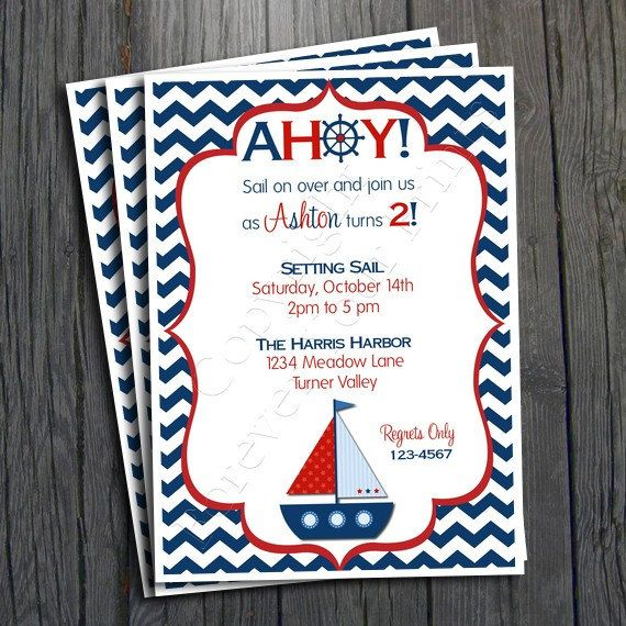 Nautical Birthday Invitation FREE Thank You By ForeverYourPrints 1500