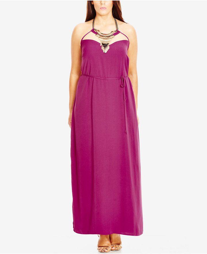 City Chic Plus Size Bib Necklace Halter Maxi Dress