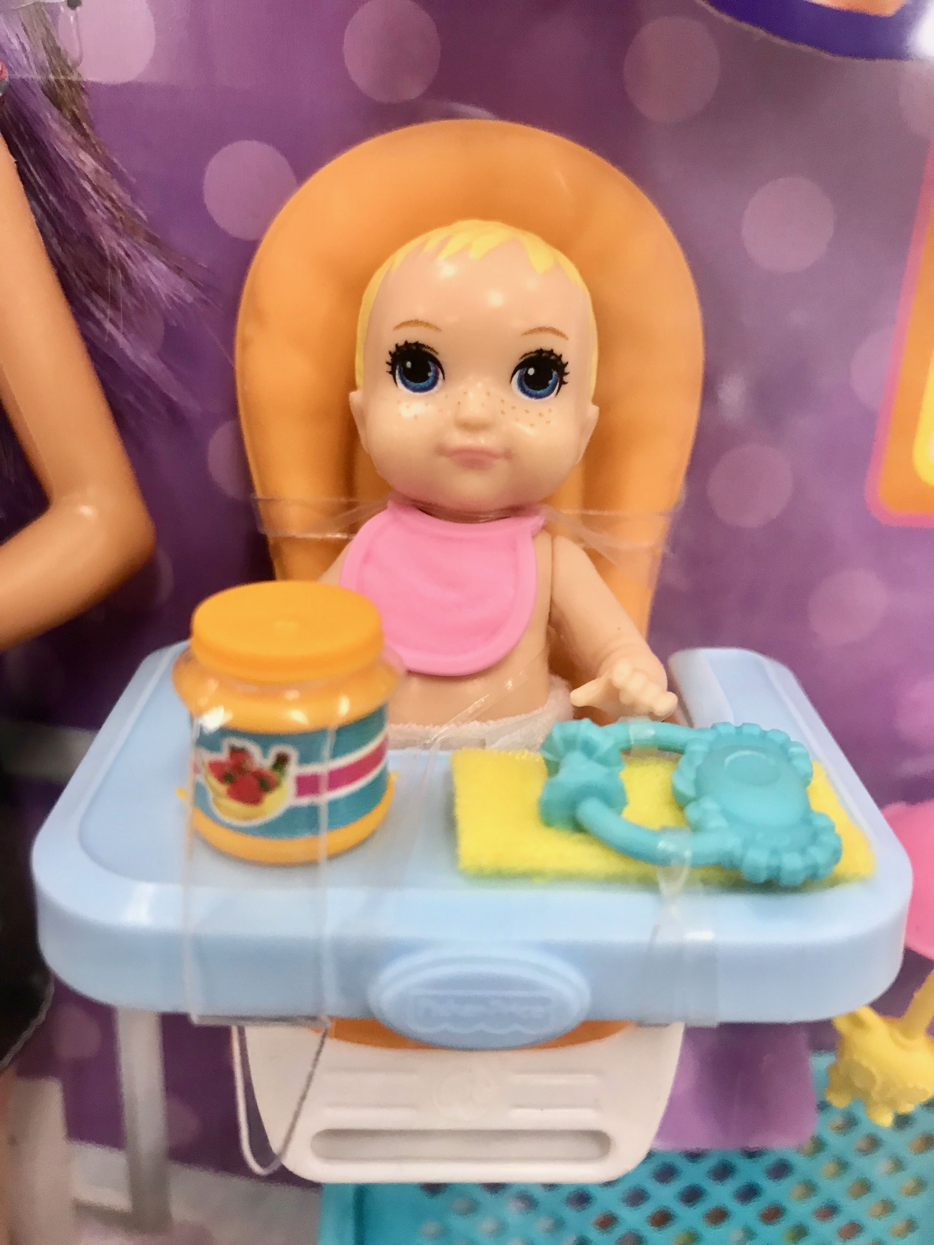 The blonde barbie baby with freckles at Target. She is
