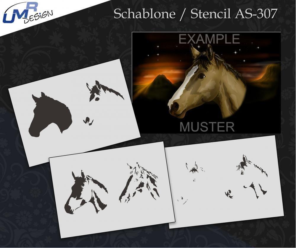 Step by Step Stencil AS-307 Pferd ~ UMR Airbrush Schablone • EUR 11 ...
