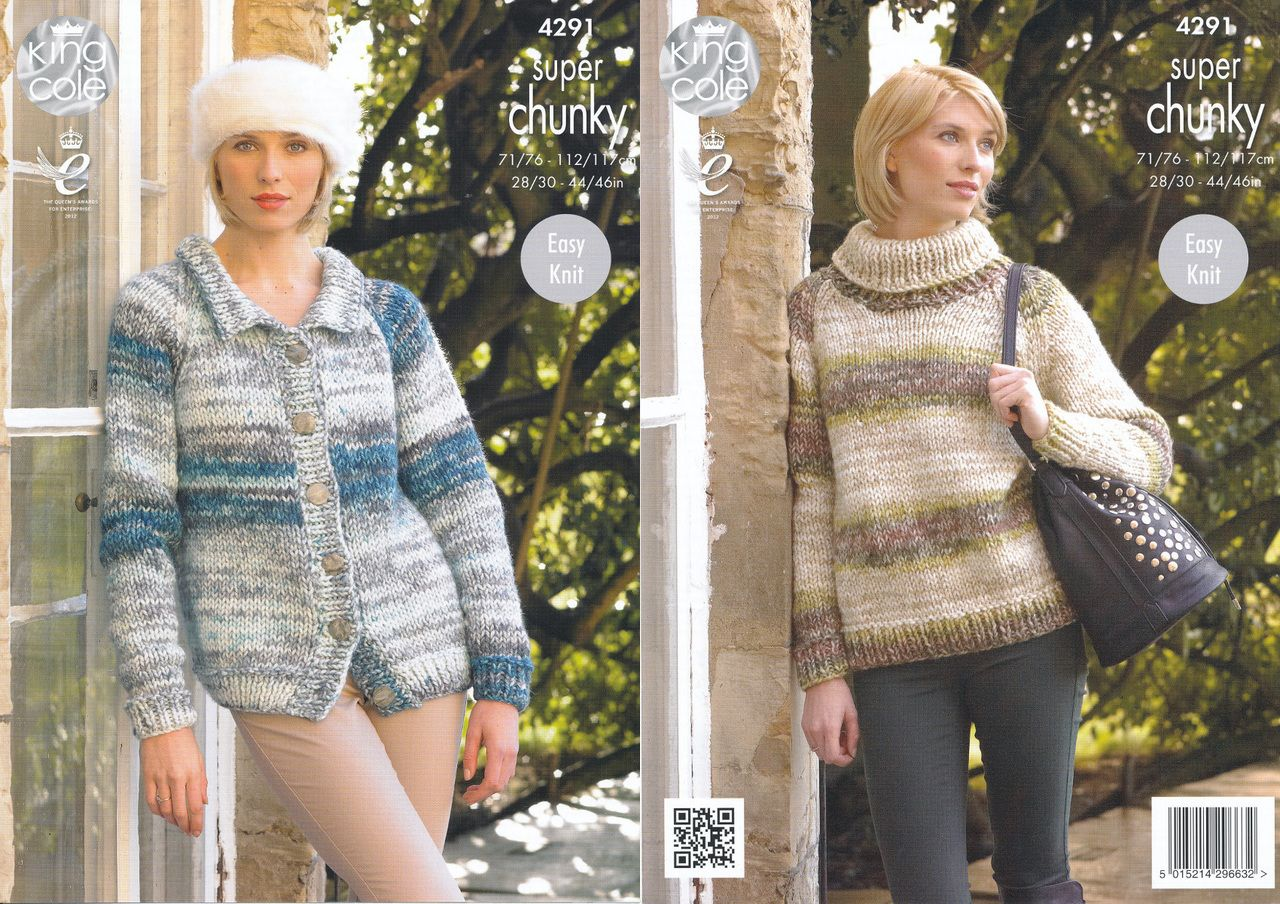 646034d40 King Cole Super Chunky Knitting Pattern - Ladies Sweater   Cardigan (4291)  - Mill Outlets