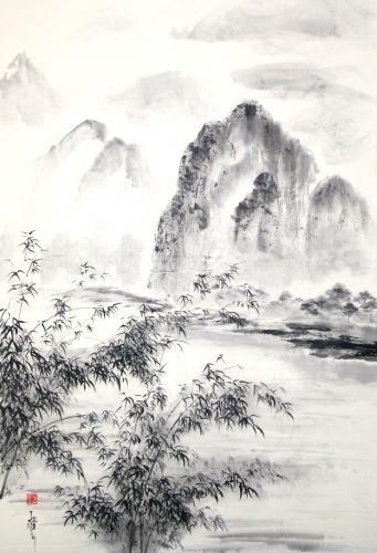 Bambous Dans La Vallee Peinture Zen Chine Paysage Paysage Chinois