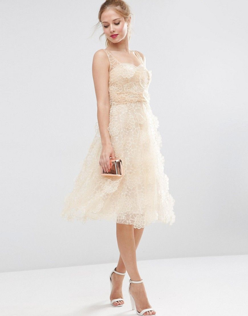 Image of asos salon d flower organza midi prom dress engaagment