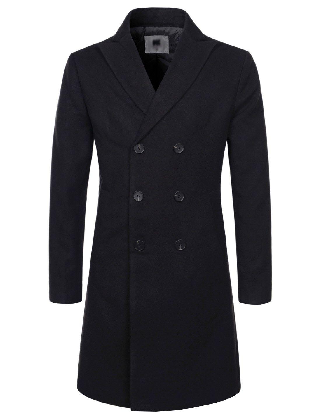Long Double Wool nkdc7053 Coat Breasted Lapel Mens Blend Peaked Thelees AWpn88U