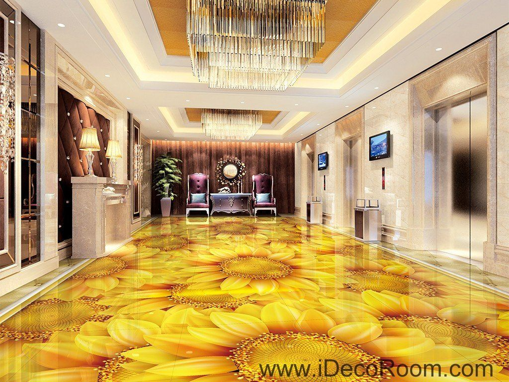 Gold Sunflowers Field 00044 Floor Decals 3D Wallpaper Wall Mural ...