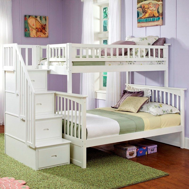 Twin Over Full Bunk Bed With Stairway Storage Drawers In White Wood
