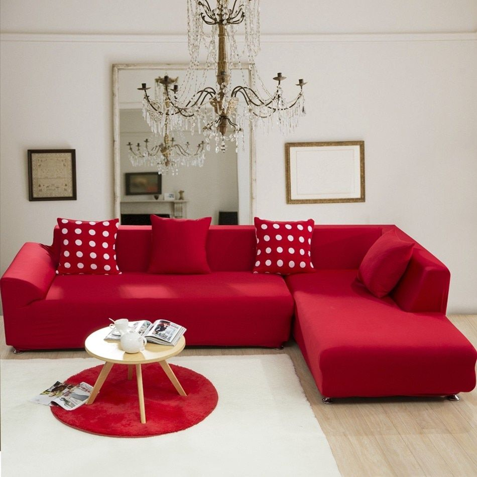 Red solid color elastic corner sofa cover for living room ...