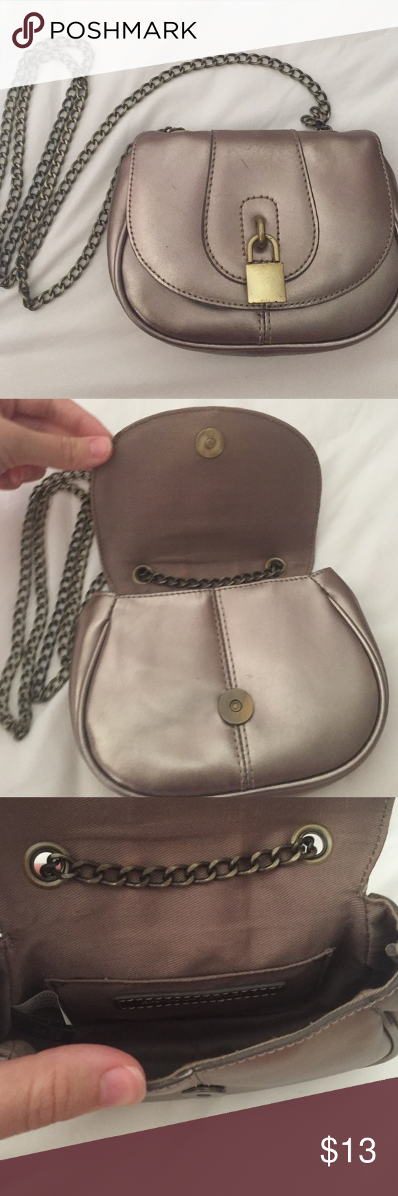 Shiny Pewter Banana Republic Lock Crossbody Perfect for a night out! Great condition except for a few minor scrapes on front. Banana Republic Bags Crossbody Bags