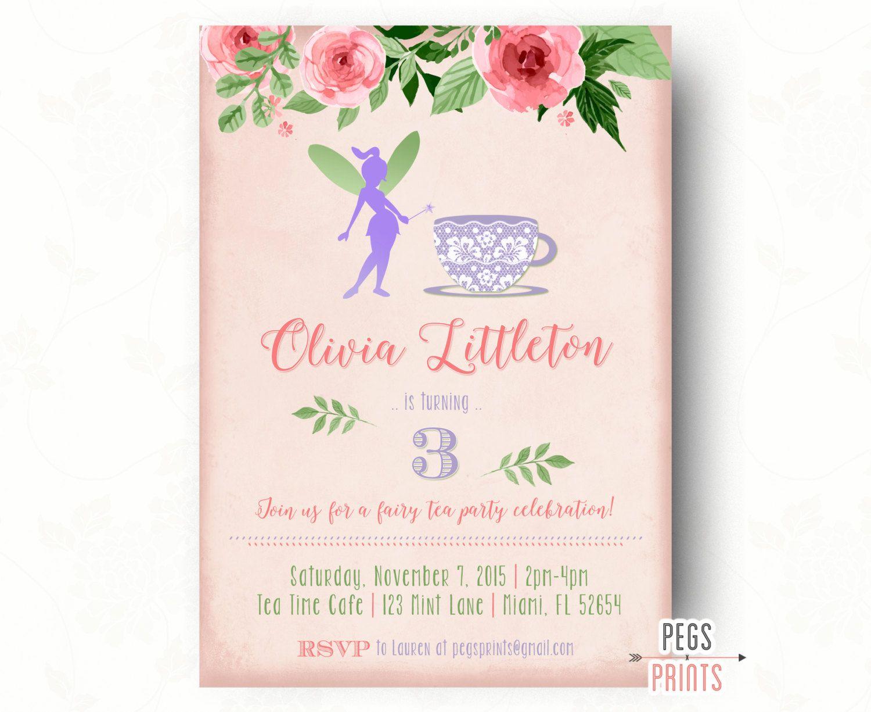 Fairy Tea Party Invitation // Fairy Garden Invite // Fairy Birthday ...
