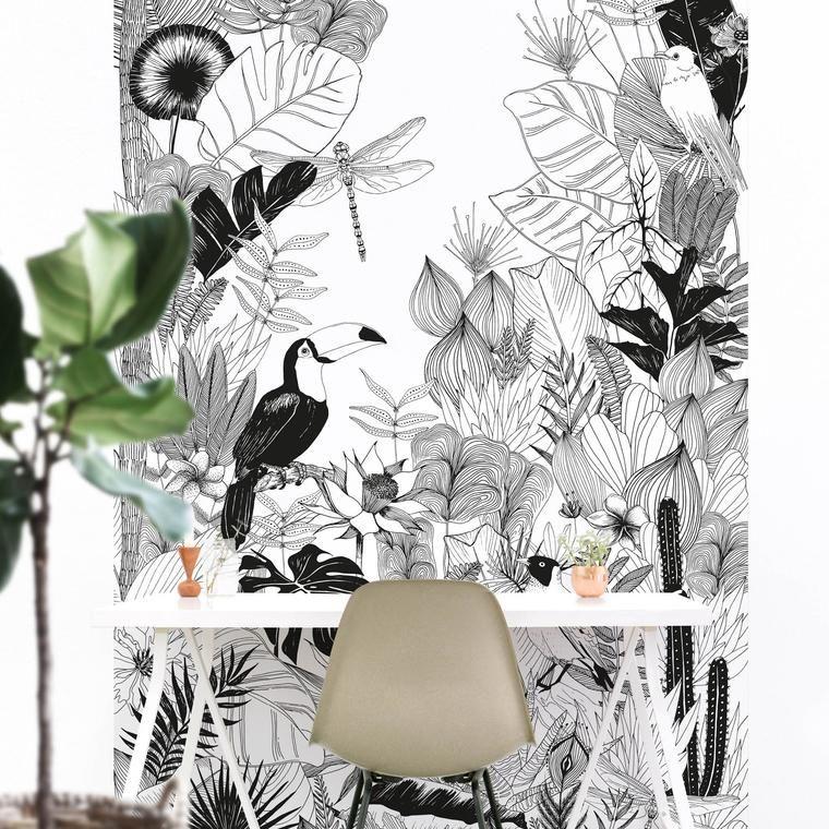 papier peint jungle papier peint magn tique jungle un univers sauvage au feuillage dense en. Black Bedroom Furniture Sets. Home Design Ideas