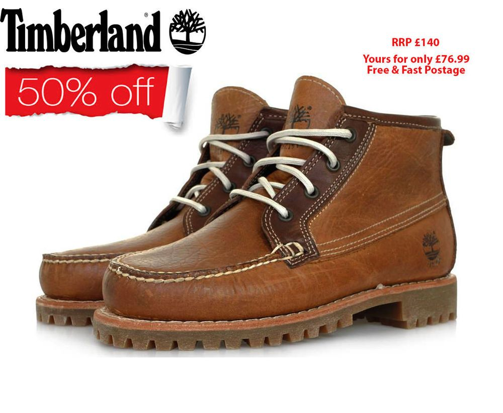 solo Desacuerdo plan  Timberland Mens Lace Up Brown Leather Chukka Boat Shoes Boots ...