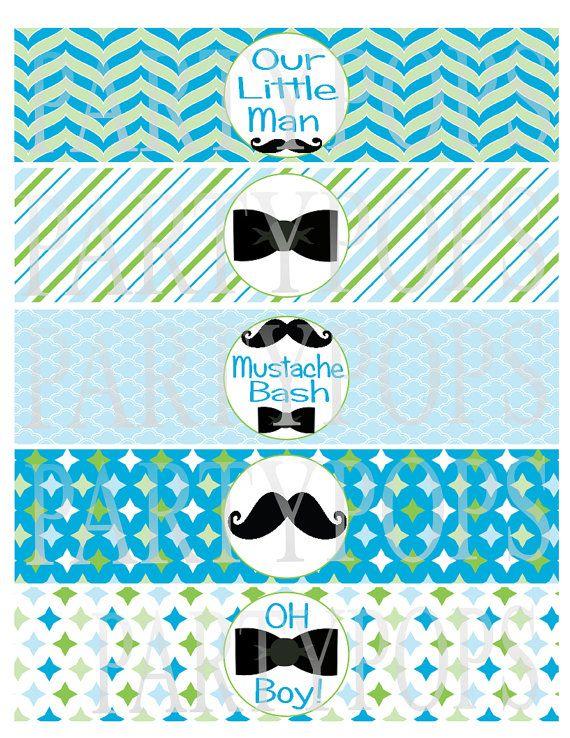 Diy Little Man Party Printable Mustache Bow Tie Water Bottle