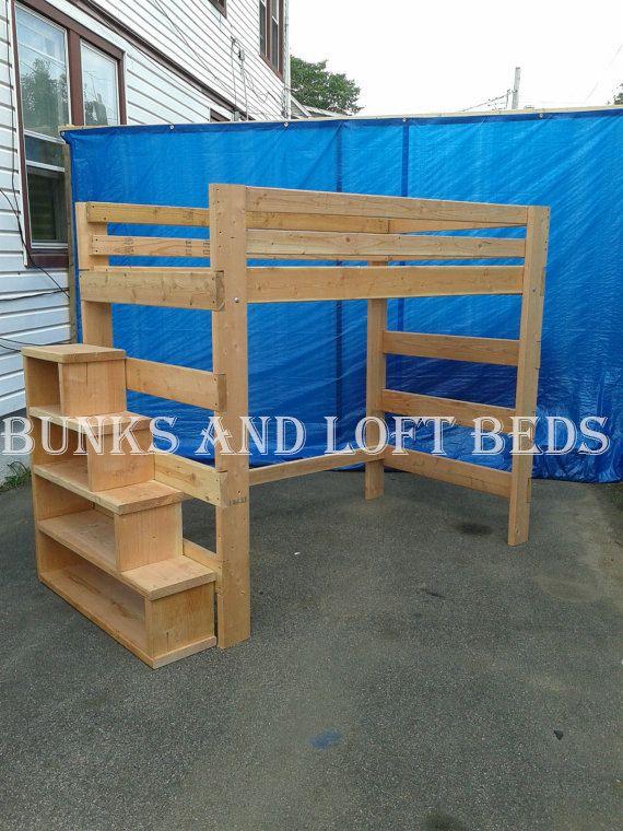 queen size heavy duty loft lit avec escalier tag re. Black Bedroom Furniture Sets. Home Design Ideas