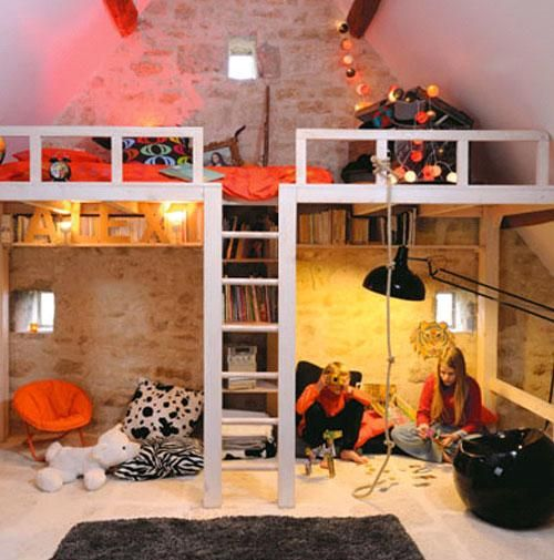 A Loft Bed Maximizing Storage Space And It Looks Cool In This Beautiful Attic Kids Bedroom Built For Extra Play