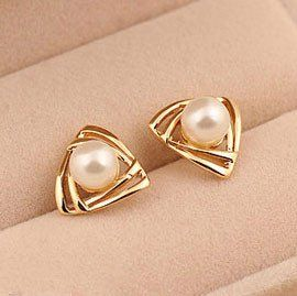 Cute Triangle Pearl Earring Studs Outfits, Outfit Ideas, Outfit Accessories, Cute Accessories