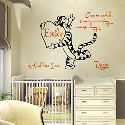 Someone Amazing Comes Along And Here I Am Tigger Heart Vinyl Sticker Custom Personalized Name Monogram Baby Boy Nursery Murals Home Décor Kids
