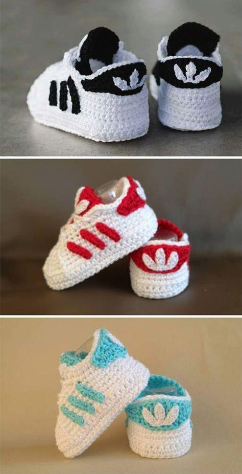 Crochet Baby Superstars Scarpette Adidas Scarpe Per Bambino