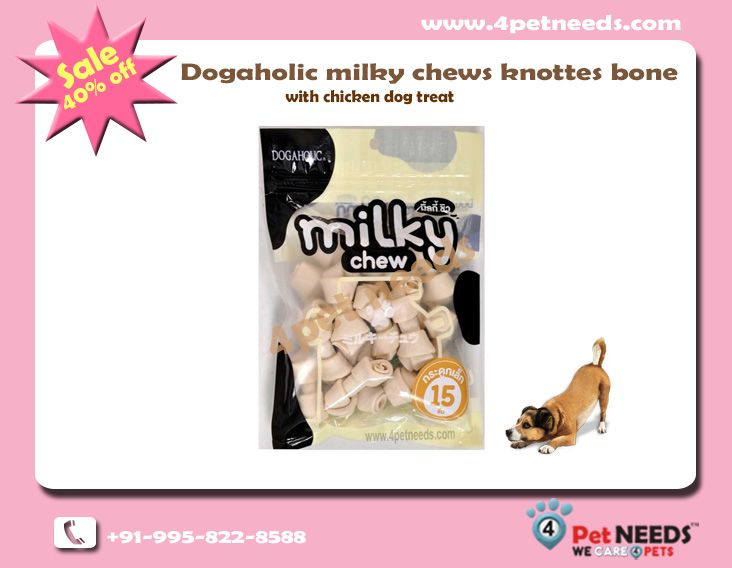 Flat 40 Off On Dogaholic Milky Chews Knotted Bone With Chicken Dog Treat For Pet 4petneeds Chicken Dog Treats Chicken For Dogs Dog Treats