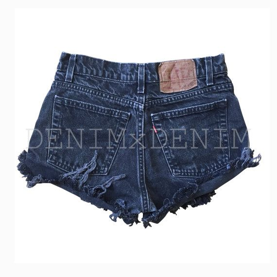 High waisted Black denim shorts Levis Wrangler ripped distressed ...