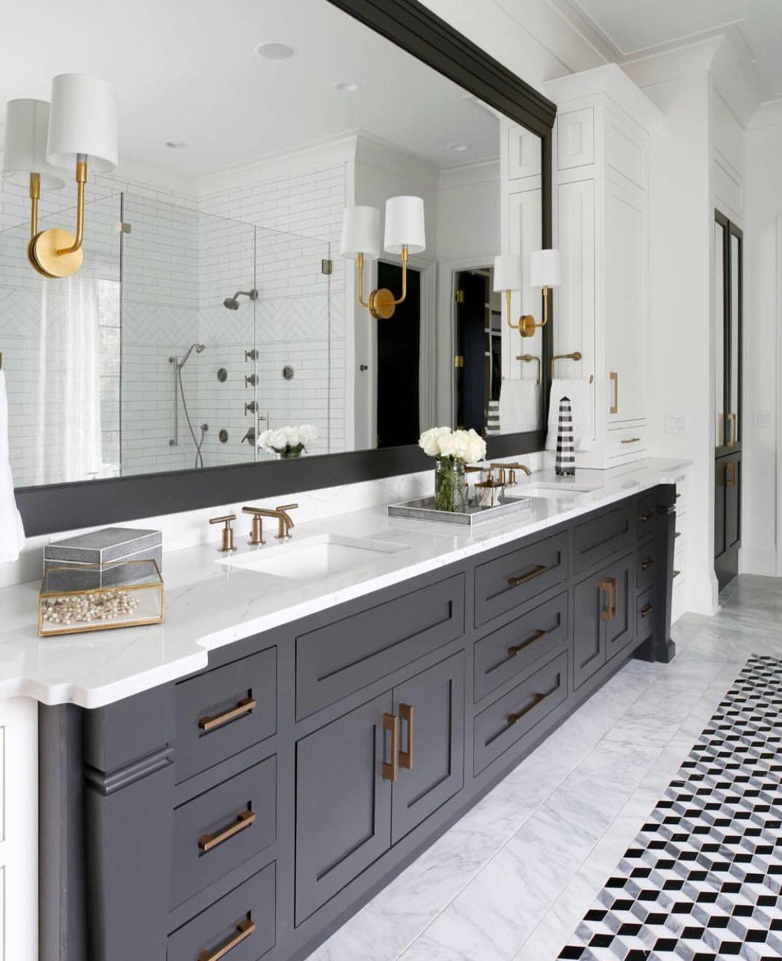 Favorite inspiration for guest bath - blue vanity for some color ...