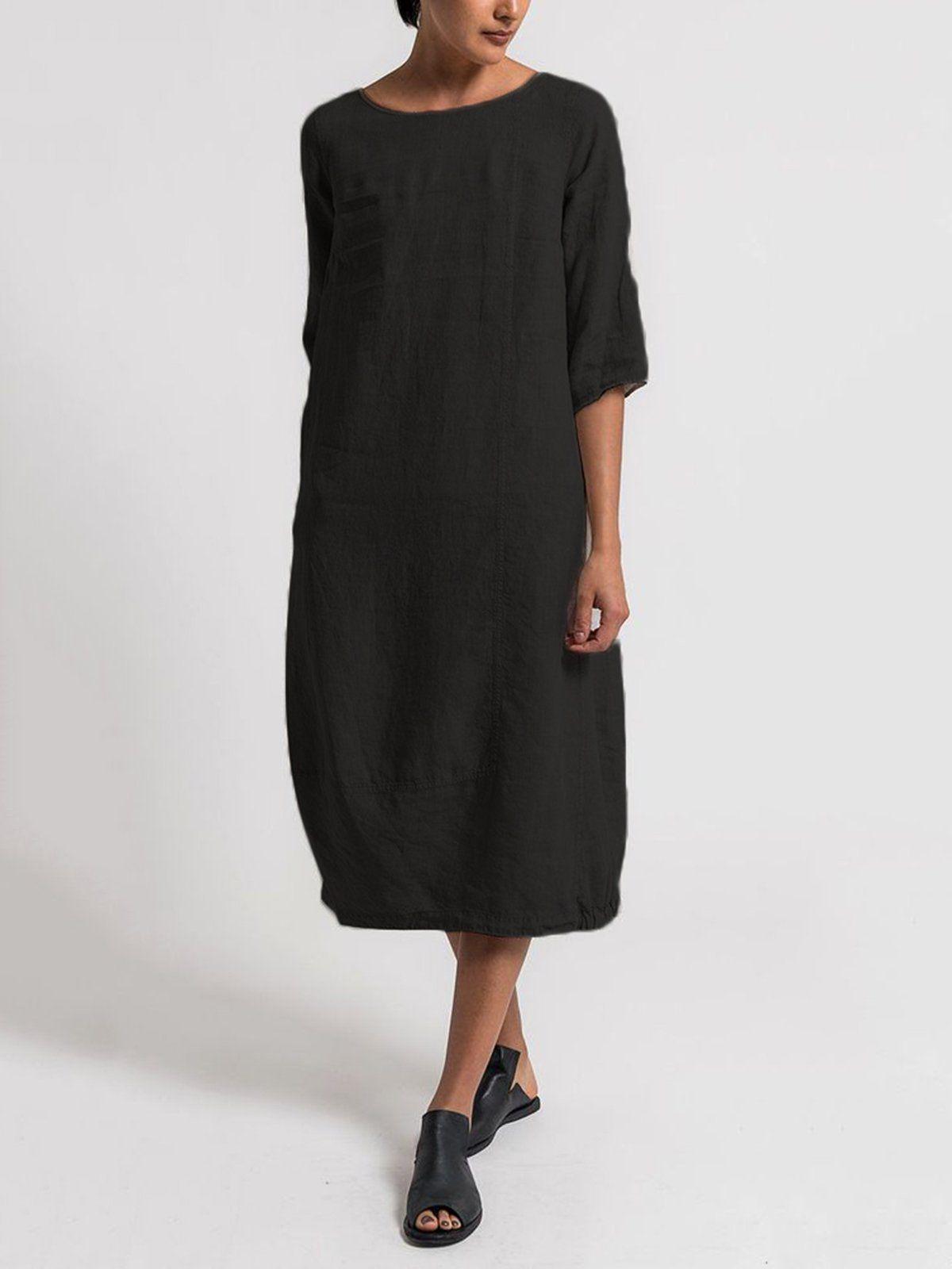 Crew Neck 3 4 Sleeve Casual Solid Casualdress Summer Dresses For Women Crewneck Dress Midi Shift Dress [ 1600 x 1200 Pixel ]