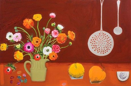 """Wonderful Ranunculus with Cooking Spoons and Eggs"" by Emma Dunbar, acrylic, 61 x 91cm, £3500."