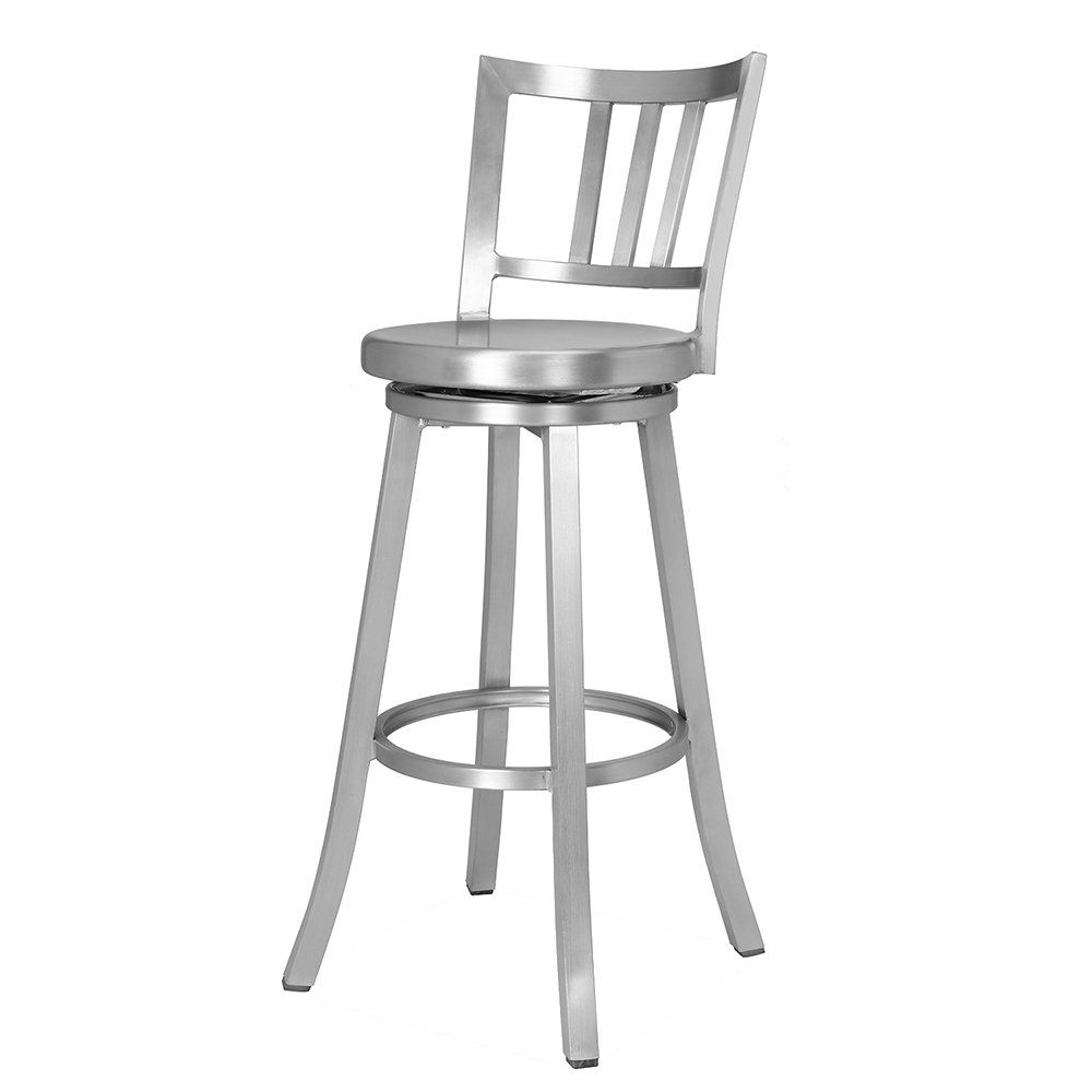 Renovoo Aluminum Swivel Bar Stool Commercial Quality Brushed Aluminum Finish 30 Inch Seat Height Indoor Ou Swivel Bar Stools Bar Stools Bar Stools For Sale
