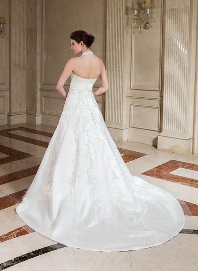 A-Line/Princess Halter Chapel Train Ruffle Lace Beading Zipper Up Regular Straps Sleeveless Church General Plus No Fall Ivory Satin Wedding Dress