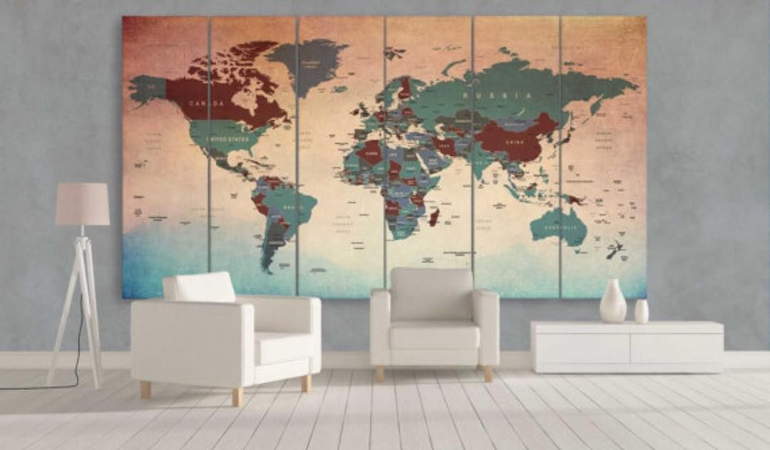 Rusted world map multi panel canvas wall art decor premium quality rusted world map multi panel canvas wall art decor premium quality canvas archival ink no color gumiabroncs Images