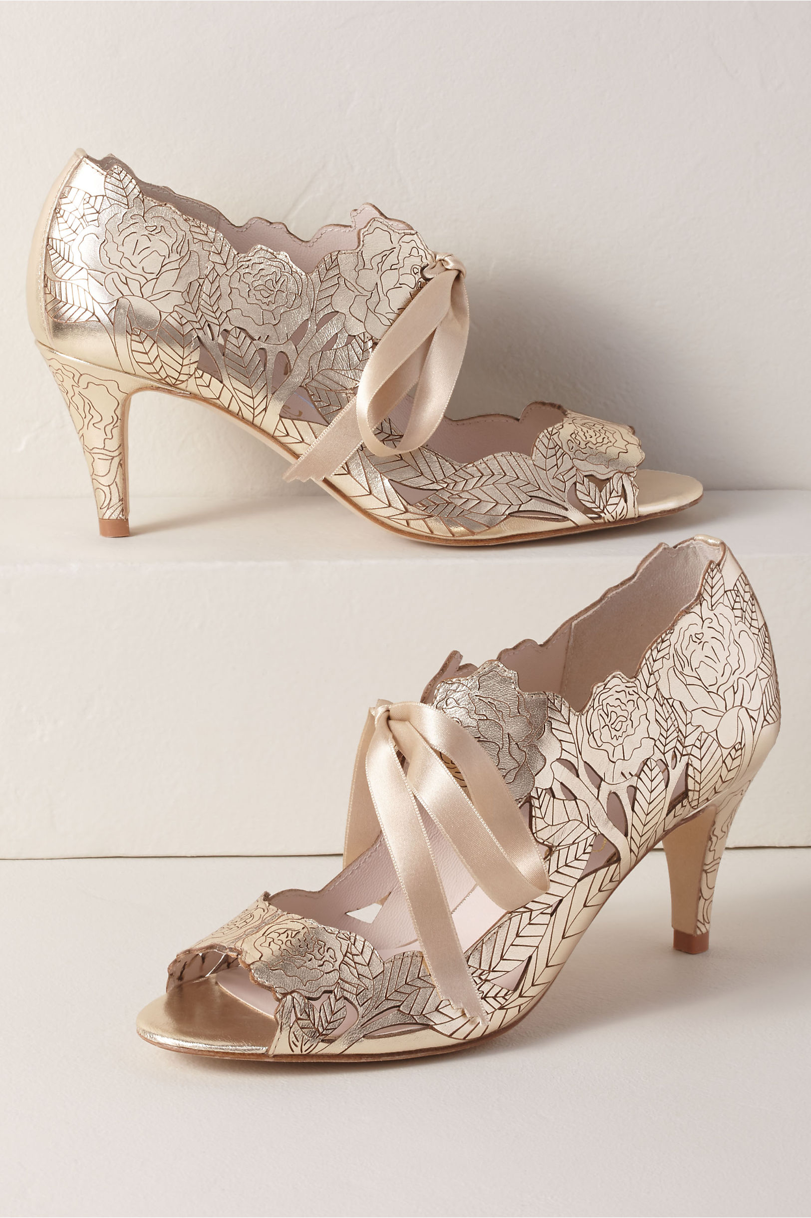 0f652c8ccf22 Featuring silver and ivory wedding shoes and more! BHLDN s Harriet Wilde  Harriet Wilde Peony Heels in Gold