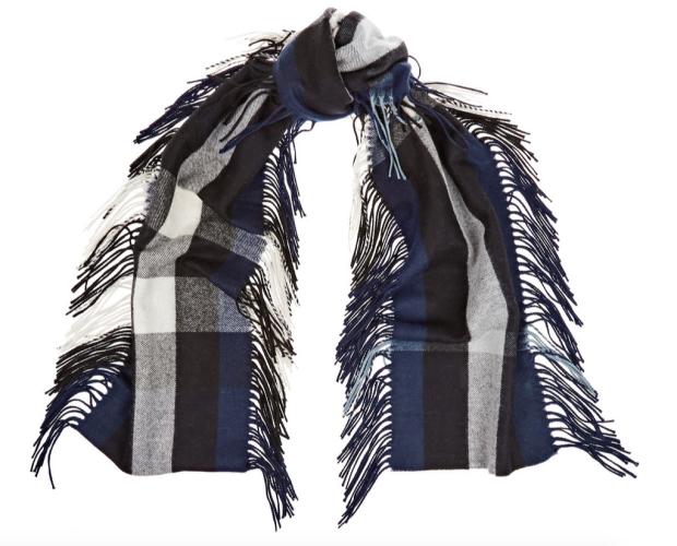Écharpe en cachemire à carreaux blanc, noir, bleu à franges, soldes  Burberry Prorsum 36216e59705