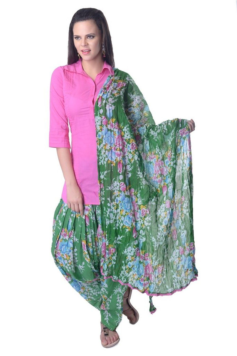 a3b52d73ab Pink Green Flower Print Cotton Readymade Printed #Patiala Salwar Suit
