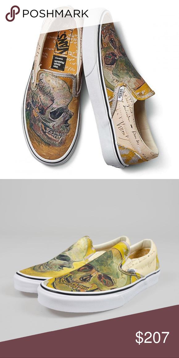 Van Gogh X Vans Skull Slip On Sz 7 Brand New Without Tags Vans X Vincent Van Gogh Slip On Skull Painting Size 7 Vans Slip On Vans Classic Slip On Sneaker