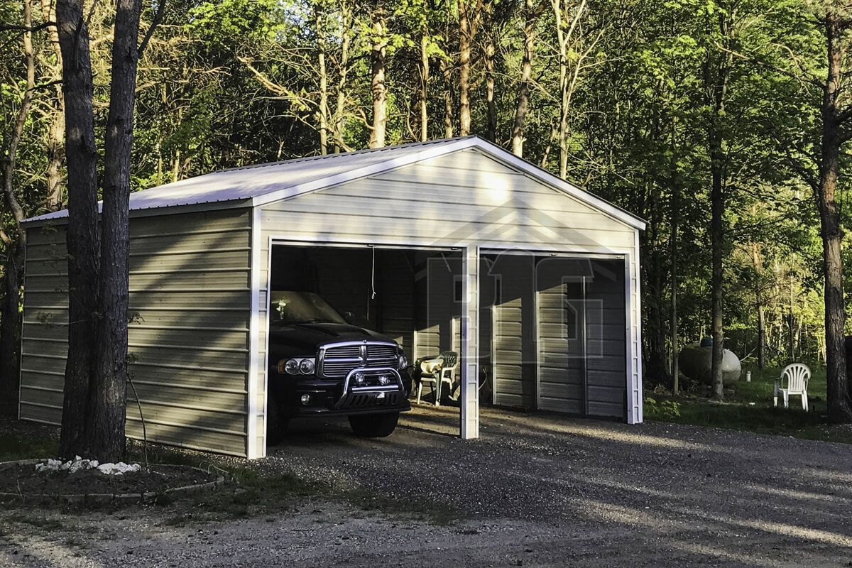 The New Yorker 2 Car Metal Garage 18x20x9 Big Buildings Direct In 2020 Carport Designs Big Building Building Systems