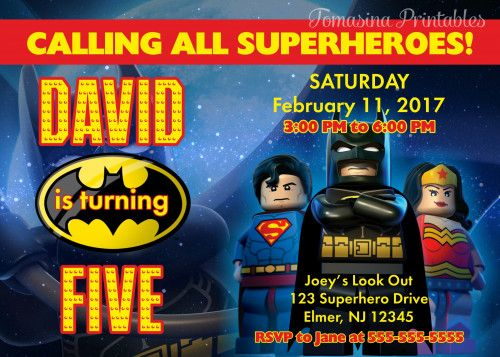 Batman Superman Lego Birthday Invitation Printable DIGITAL Invite