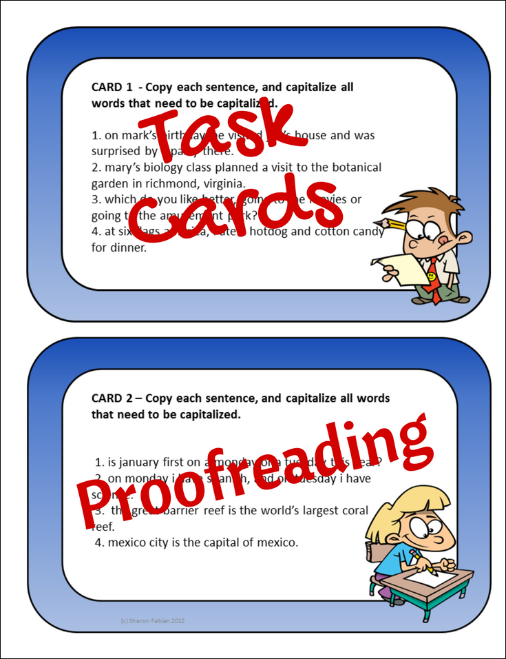 Task Cards For Practicing Proofreading Or Editing Topics Include