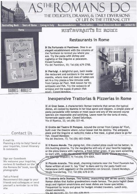 As the Romans do - Ristorante Piccolo Arancio #Roma