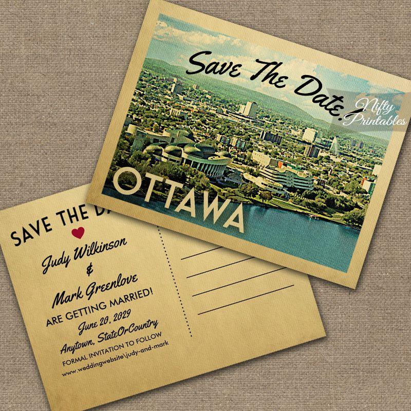 Ottawa Save The Date PRINTED Nifty Printables Vintage