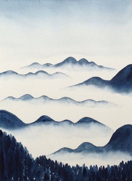 Original Watercolor Painting Foggy Mountains Misty Hills